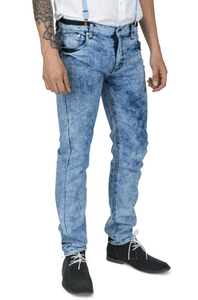 Marble Wash Skinny Fit Stretch Jeans - GIAN LONDON