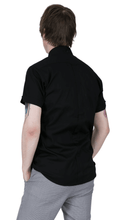 Load image into Gallery viewer, Black Classic Oxford Weave Short Sleeve Shirt - GIAN LONDON