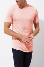 Load image into Gallery viewer, Pink Longline Slim Fit Curved Hem T-Shirt - GIAN LONDON