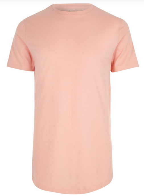 Pink Longline Slim Fit Curved Hem T-Shirt - GIAN LONDON