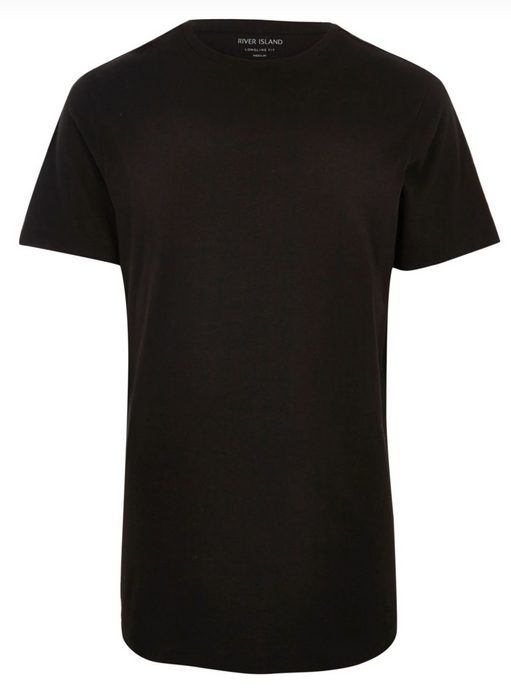 Black Longline Slim Fit Curved Hem T-Shirt - GIAN LONDON