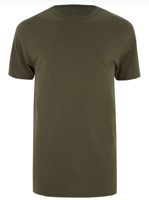 Dark Green Longline Slim Fit Curved Hem T-Shirt - GIAN LONDON