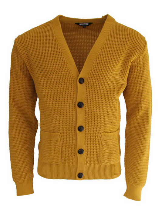 Mustard Waffle Knit Cardigan with Football Buttons - GIAN LONDON