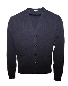 Navy Waffle Knit Cardigan with Football Buttons - GIAN LONDON