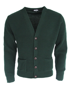 Bottle Green Waffle Knit Cardigan with Football Buttons - GIAN LONDON