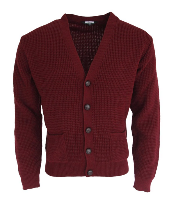 Burgundy Waffle Knit Cardigan with Football Buttons - GIAN LONDON