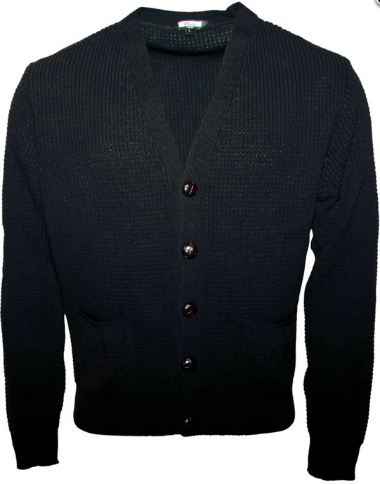 Black Waffle Knit Cardigan with Football Buttons - GIAN LONDON
