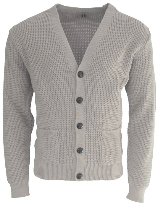 Stone Waffle Knit Cardigan with Football Buttons - GIAN LONDON