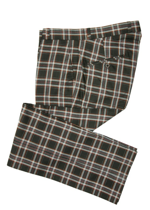 Black Tartan & Stewart Check Sta Press Trousers - GIAN LONDON