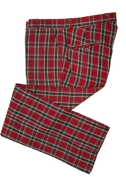 Burgundy Tartan & Stewart Check Sta Press Trousers - GIAN LONDON