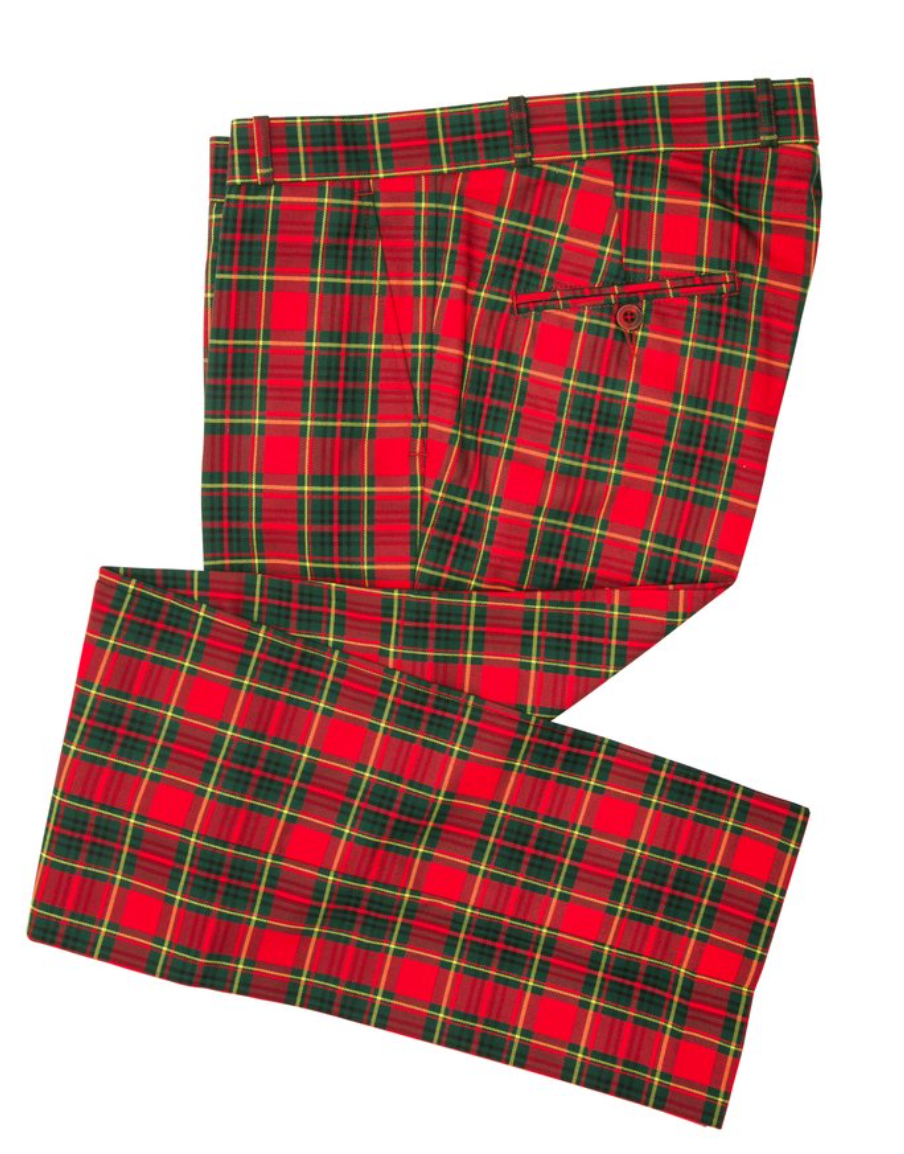 Red Tartan & Stewart Check Sta Press Trousers - GIAN LONDON