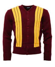 Load image into Gallery viewer, Burgundy & Mustard Cardigan - GIAN LONDON