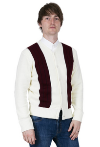 Creme & Burgundy Cardigan - GIAN LONDON