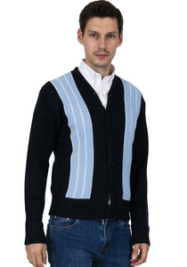 Navy & Sky Blue Cardigan - GIAN LONDON