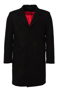 Black Wool Crombie Overcoat - GIAN LONDON