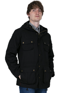 Black Wax Parka Jacket - GIAN LONDON
