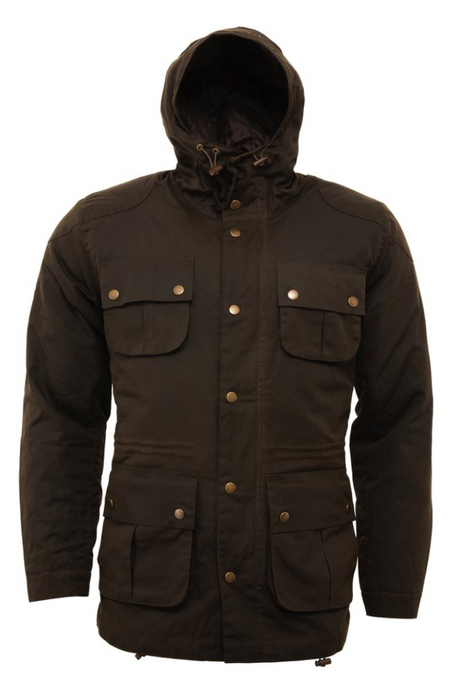 Olive Green Wax Parka Jacket - GIAN LONDON
