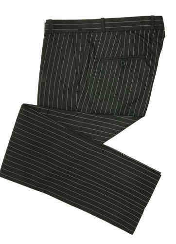 Black Pinstripe Sta Press Trousers - GIAN LONDON