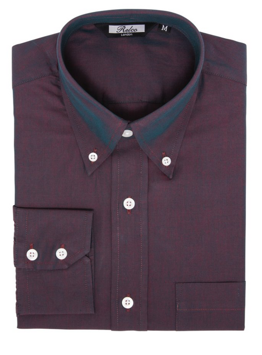Burgundy Two Tone Cotton Long Sleeve Shirt - GIAN LONDON