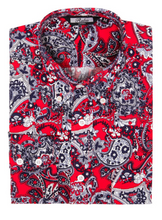 Load image into Gallery viewer, Red Paisley Cotton Long Sleeve Shirt - GIAN LONDON