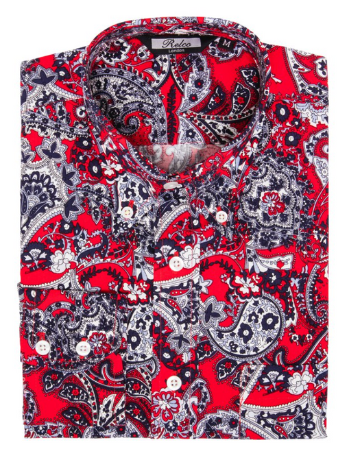 Red Paisley Cotton Long Sleeve Shirt - GIAN LONDON