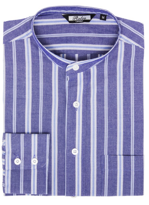 Blue Striped Grandad Collar Long Sleeve Shirt - GIAN LONDON