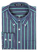 Load image into Gallery viewer, Green Stripe Denim Coloured Long Sleeve Shirt - GIAN LONDON