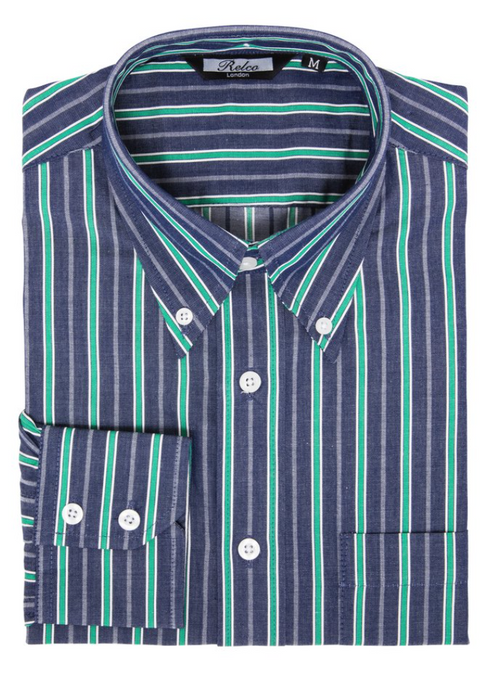 Green Stripe Denim Coloured Long Sleeve Shirt - GIAN LONDON