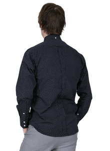 Navy Pindot Long Sleeve Shirt - GIAN LONDON