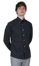 Load image into Gallery viewer, Navy Pindot Long Sleeve Shirt - GIAN LONDON