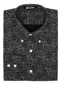 Black Paisley Long Sleeve Shirt - GIAN LONDON