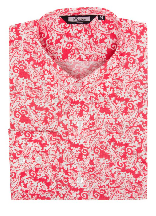Red & White Paisley Long Sleeve Shirt - GIAN LONDON