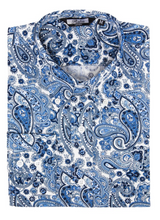 Load image into Gallery viewer, Blue & White Paisley Long Sleeve Shirt - GIAN LONDON