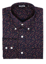 Load image into Gallery viewer, Navy Blue Floral Long Sleeve Shirt - GIAN LONDON