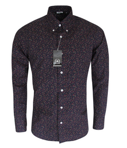 Navy Blue Floral Long Sleeve Shirt - GIAN LONDON