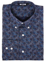 Load image into Gallery viewer, Blue Paisley Long Sleeve Shirt - GIAN LONDON