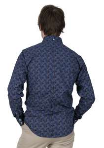 Blue Paisley Long Sleeve Shirt - GIAN LONDON