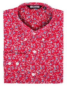 Red with Blue Floral Pattern Long Sleeve Shirt - GIAN LONDON