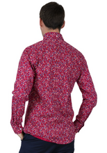Load image into Gallery viewer, Red with Blue Floral Pattern Long Sleeve Shirt - GIAN LONDON