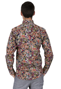 Navy Blue Paisley Pattern Long Sleeve Shirt - GIAN LONDON
