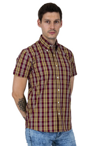 Burgundy & Mustard Check Short Sleeve Shirt - GIAN LONDON