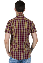 Load image into Gallery viewer, Burgundy & Mustard Check Short Sleeve Shirt - GIAN LONDON