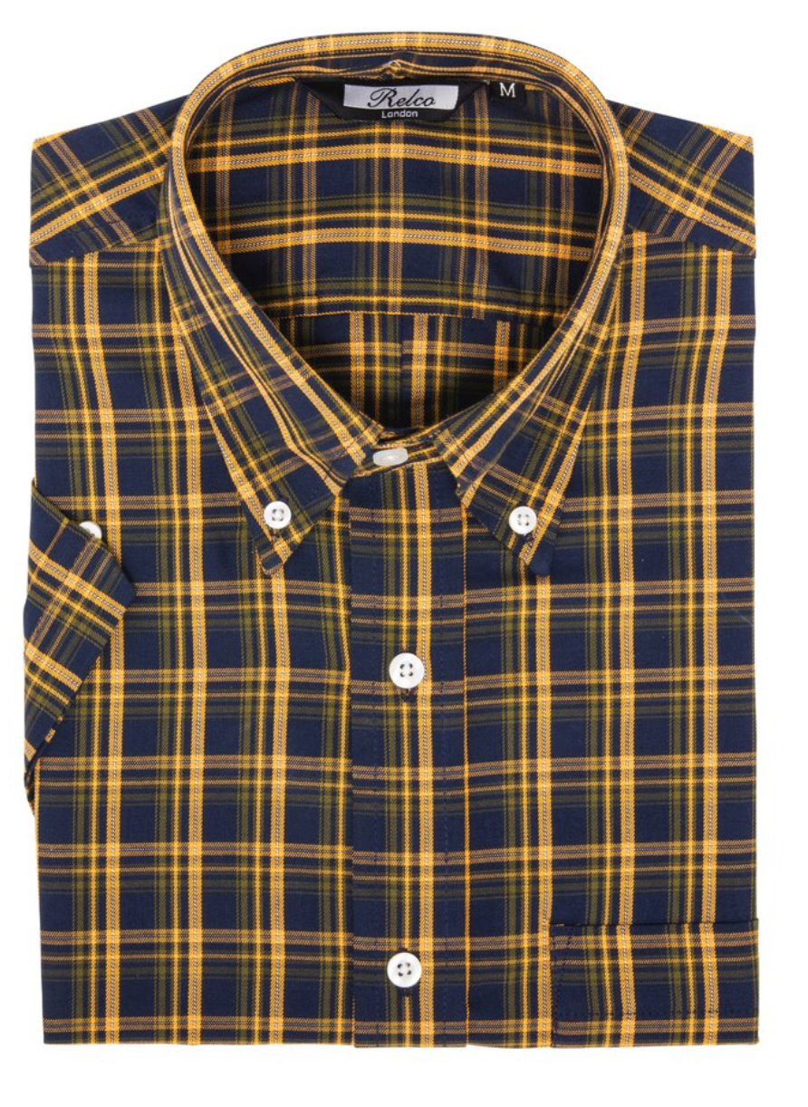 Navy & Yellow Check Short Sleeve Shirt - GIAN LONDON
