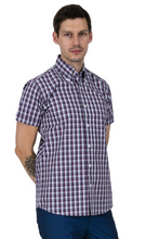 Load image into Gallery viewer, Burgundy White & Navy Check Short Sleeve Shirt - GIAN LONDON