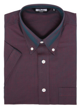 Load image into Gallery viewer, Burgundy Two Tone Tonic Short Sleeve Shirt - GIAN LONDON