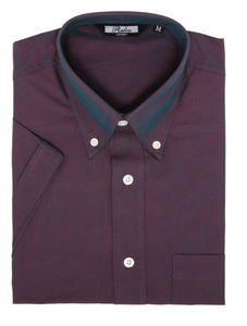Burgundy Two Tone Tonic Short Sleeve Shirt - GIAN LONDON