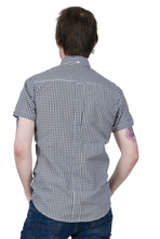 Load image into Gallery viewer, Black Gingham Check Short Sleeve Shirt - GIAN LONDON