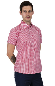 Red Gingham Check Short Sleeve Shirt - GIAN LONDON