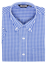 Load image into Gallery viewer, Blue Gingham Check Short Sleeve Shirt - GIAN LONDON