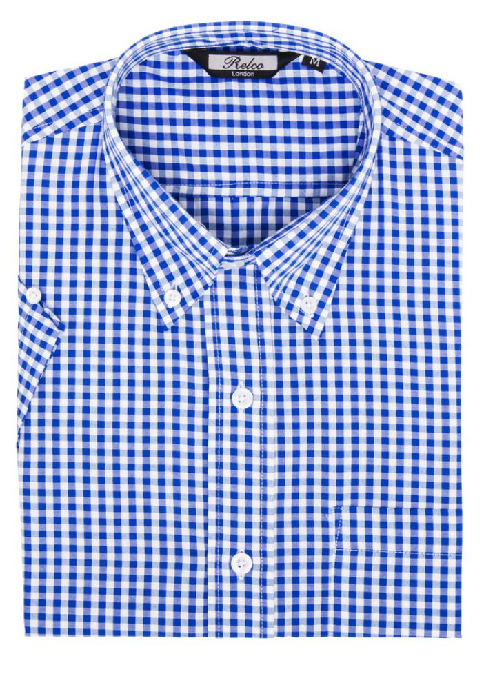 Blue Gingham Check Short Sleeve Shirt - GIAN LONDON